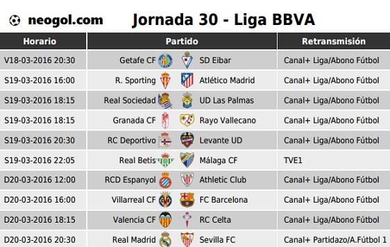 Partidos Jornada 30. Liga Española BBVA 2016