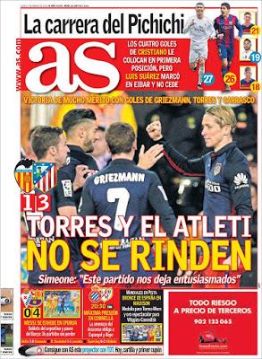 Portada AS: Torres y el Atlético no se rinden