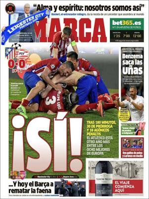 Portada Marca: El Atlético a cuartos de Champions penales psv