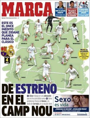 Portada Marca:11 del Madrid para el clásico