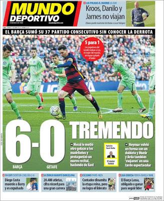 Portada Mundo Deportivo: Barça golea a Getafe