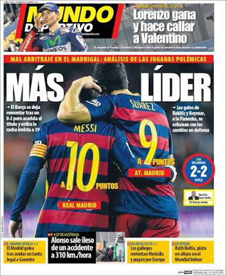 Portada Mundo Deportivo: Más líder
