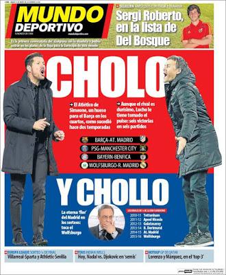 Portada Mundo Deportivo: Cholo y Chollo en champions