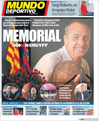 Portada Mundo Deportivo: en memoria de Johan Cruyff