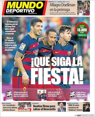 Portada Mundo Deportivo: que siga la fiesta