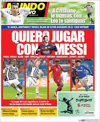 Portada Mundo Deportivo: todos quieren jugar con Messi