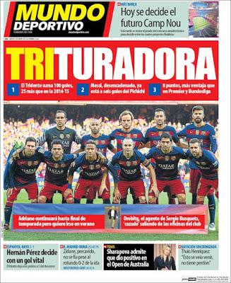 Portada Mundo Deportivo: Trituradora