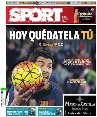 Portada Sport: Luis Suárez pichichi
