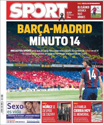 Portada Sport: Barça-Madrid minuto 14