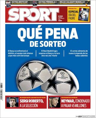 Portada Sport: Que pena de sorteo