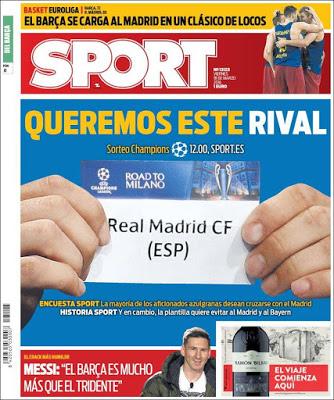 Portada Sport: Queremos al Madrid de rival