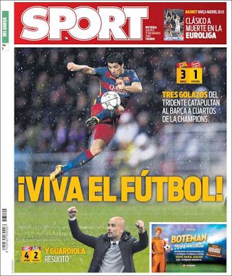 Portada Sport: Barça 3-Arsenal 1