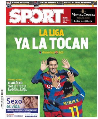 Portada Sport: El Barça acaricia la Liga