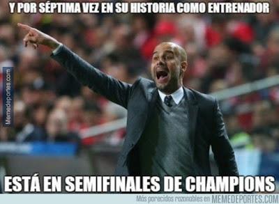 Los mejores memes del sorteo de semifinales Champions League  pep guardiola