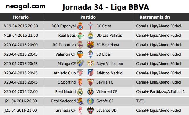 Partidos Jornada 34. Liga Española BBVA 2016