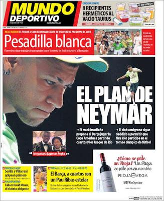 Portada Mundo Deportivo: el plan Neymar