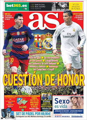 Portada AS: Barça-Madrid cuestión de honor