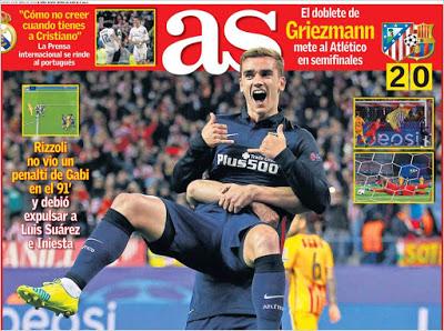 Portada AS: Griezmann doblete atletico barcelona