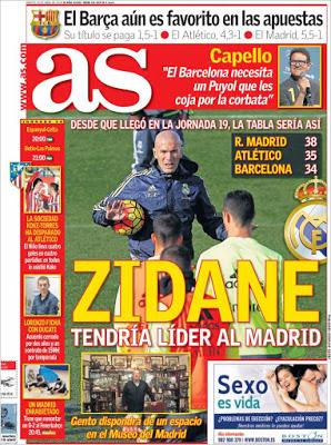 Portada AS: Zidane tendría líder al Madrird