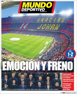 Portada Mundo Deportivo: Emoción y freno