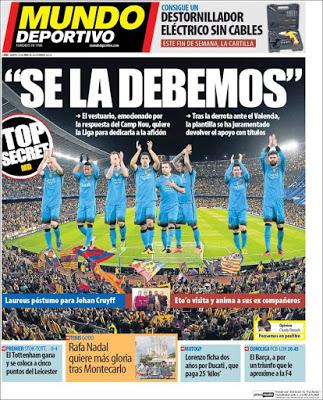 Portada Mundo Deportivo: Se la debemos