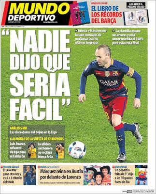 Portada Mundo Deportivo: Iniesta