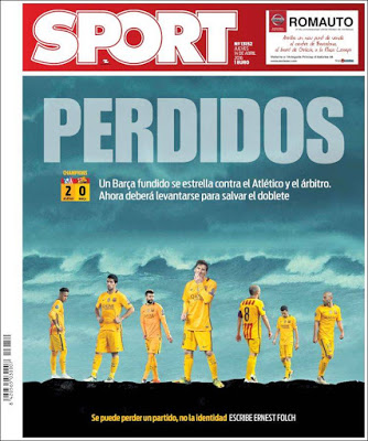 Portada Sport: Perdidos barcelona eliminado champions league
