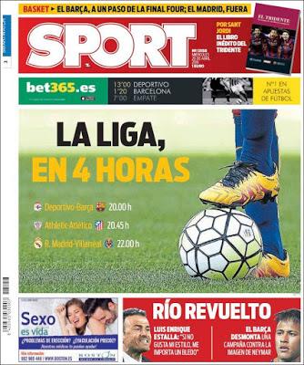 Portada Sport: La Liga, en cuatro horas
