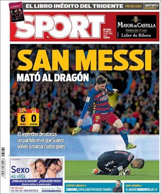 Portada Sport: San Messi mató al dragón