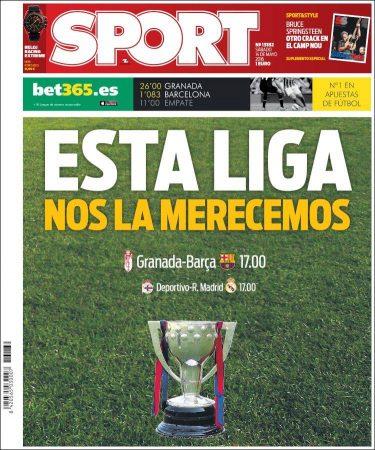 Portada Sport: Esta Liga nos la merecemos