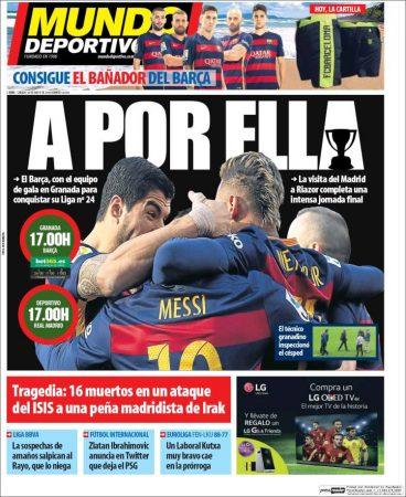 Portada Mundo Deportivo: A por ella