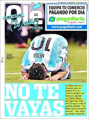 diario ole argentina pierde chile segunda final copa america messi deja seleccion