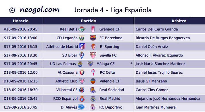 Jornada 4 Liga Española 2016