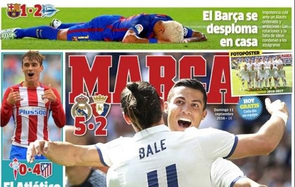 Liderato del Madrid y batacazo del Barça