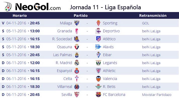 Jornada 11 Liga Española 2016