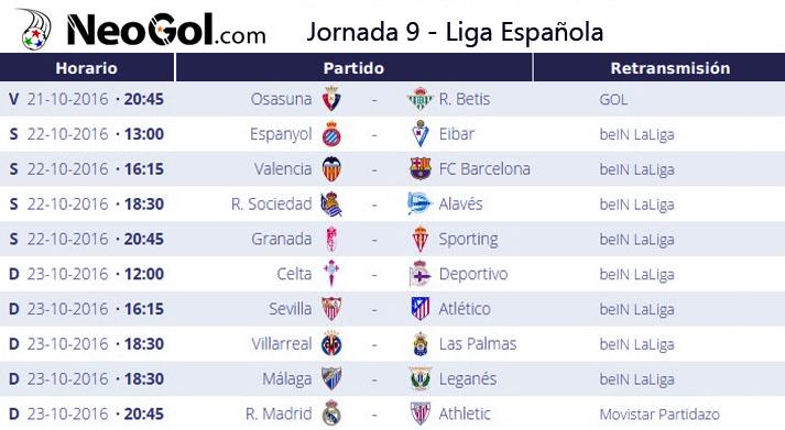 Jornada 9 Liga Española 2016