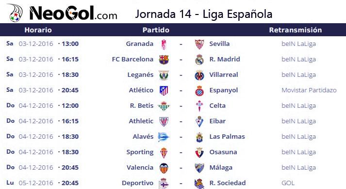 Jornada 14 Liga Española 2016