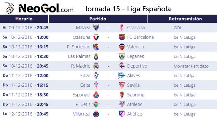 Jornada 15 Liga Española 2016