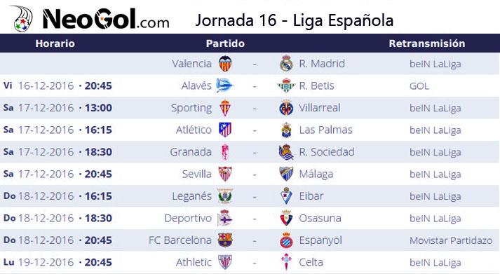 Jornada 16 Liga Española 2016