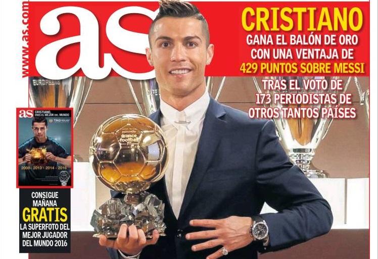 Cristiano Ronaldo cuarto Balón de Oro
