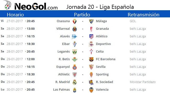 Jornada 20 Liga Española 2017