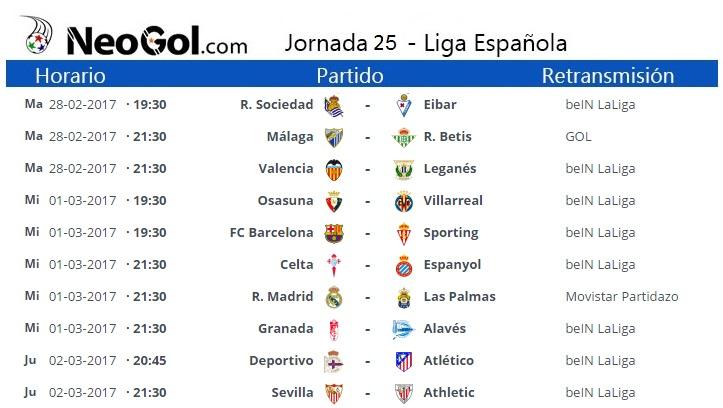 Jornada 25 Liga Española 2017