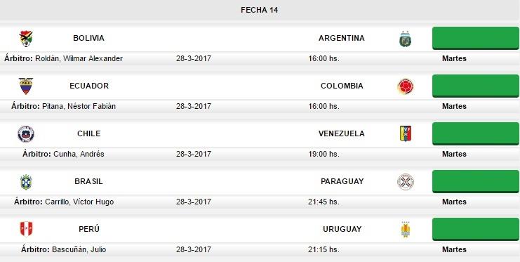 Eliminatorias sudamericanas fecha 14 rusia 2018 partidos Horario de partidos de hoy