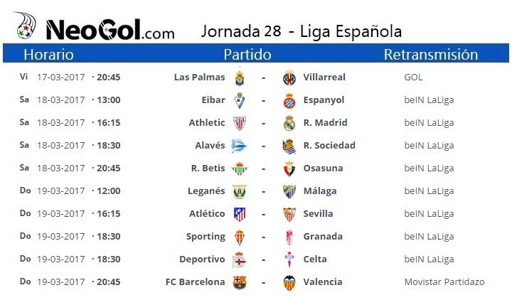 Jornada 28 Liga Española 2017