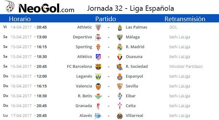 Jornada 32 Liga Española 2017
