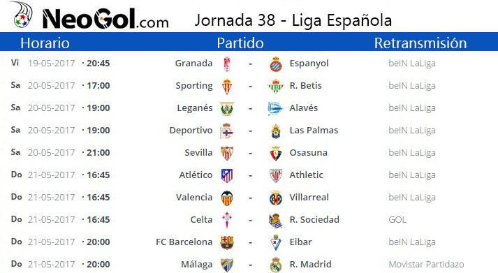 Jornada 38 Liga Española 2017