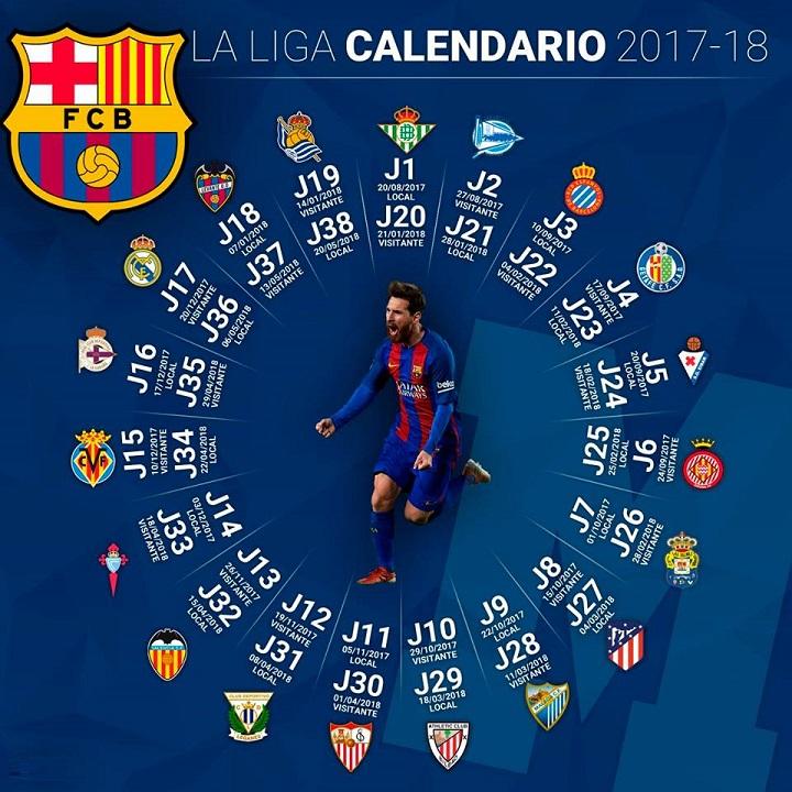 Calendario Del Barcelona.Calendario Fc Barcelona 2017 2018 Liga Espanola Santander