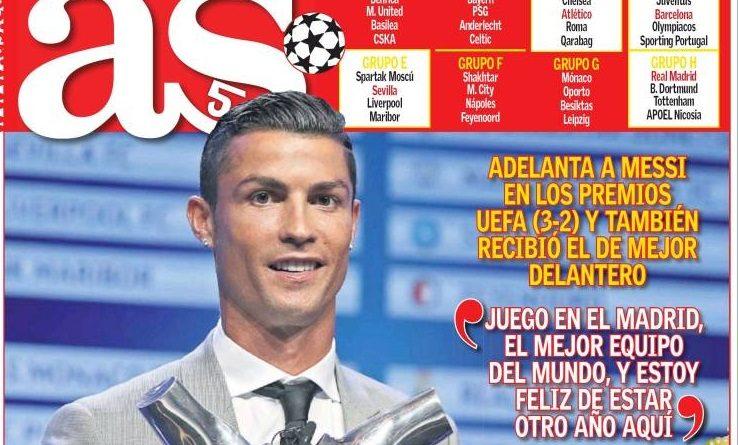 Crisitano Ronaldo mejor jugador UEFA 2017