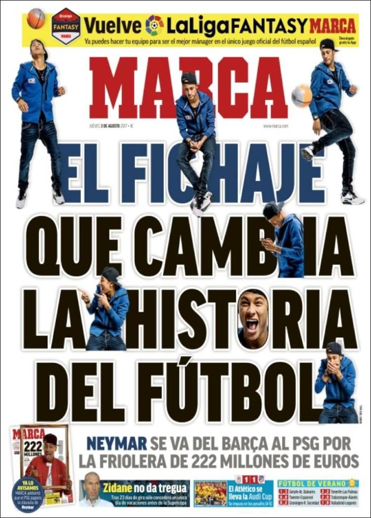 Neymar Ficha por el PSG portada marca