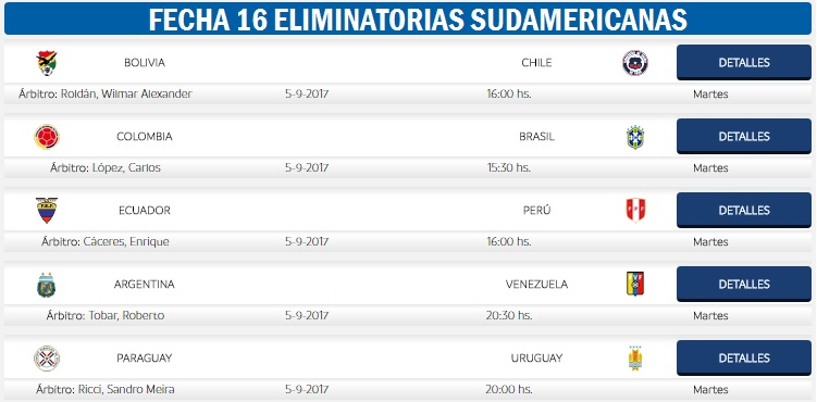 Eliminatorias Sudamericanas Fecha 16